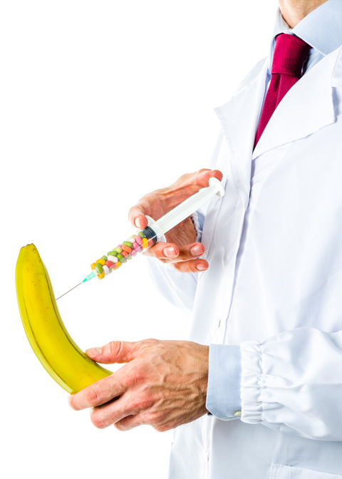 Doctor injecting banana