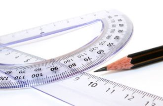 Ruler, protractor and pencil