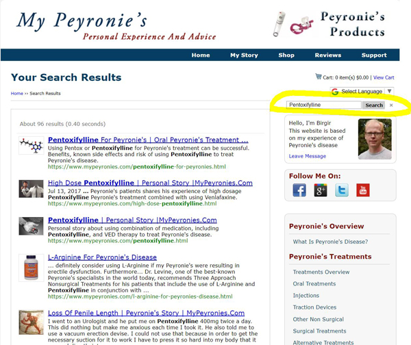 How to search for topic on My Peyronies website
