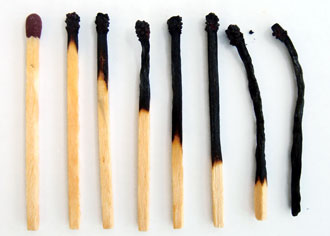 Different stages of burned matches