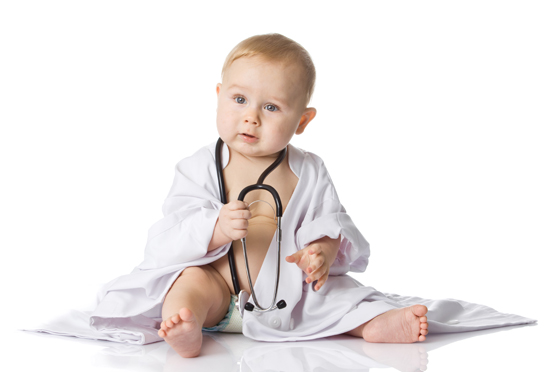 Baby playing doctor