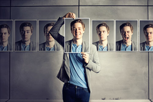 Young man with many faces