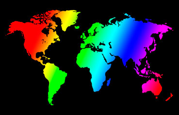 Map of the world in the gay colors