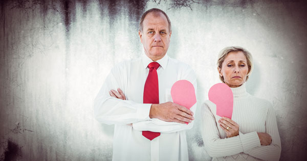 Unhappy middle age couple getting divorce