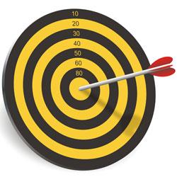 Arrow hitting the bullseye