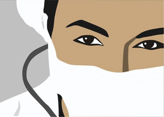 Drawing doctor with face mask