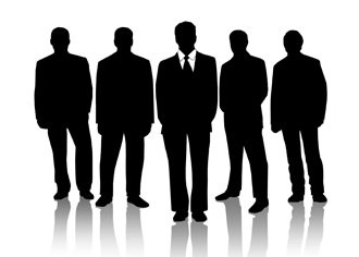 Silhouette of group of men