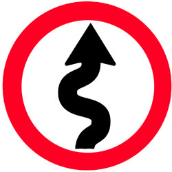 Sign showing curved arrow